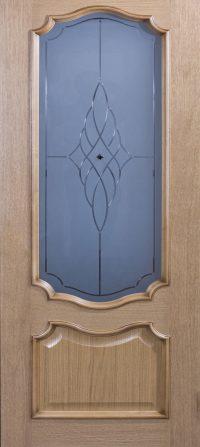 Klassieke deur met glas – lichtbruin
